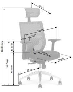 Fotel Materiałowy Wentylowany Obrotowy Siatka wymiar